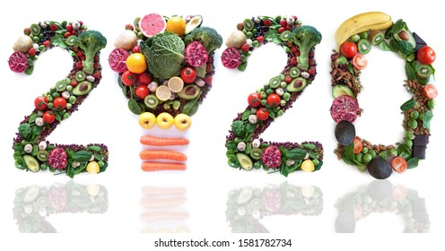 2020 made of fruits and vegetables including a light bulb icon