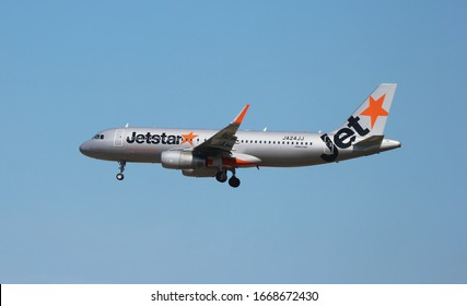 2020 March 04. Chiba JAPAN. Flying JETSTAR airways airplane for prepare to landing at Narita international airport.