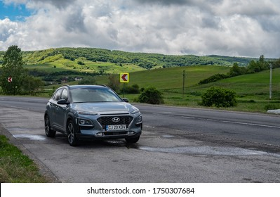 2020 May 31. Satu Mare, Romania. Hyundai Kona car parked on the road. Editorial photo