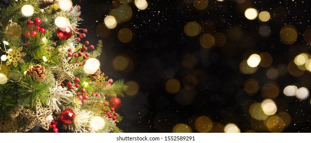 2020 Merry Christmas and New Year holidays background. Blurred bokeh background