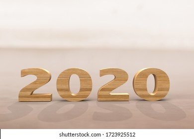 2020 New Year , Number Wooden.