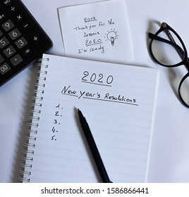 2020 New Year's Resolutions text on notebook