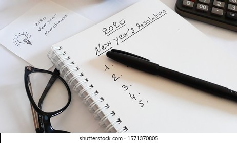 2020 New Year's Resolutions  written on notebook