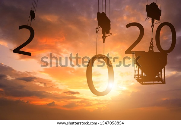 2020 newyear silhouette 2020 concept happy new year - image