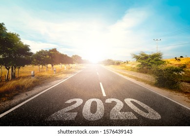 2020 on the street with sunlight background. Happy New Year 2020