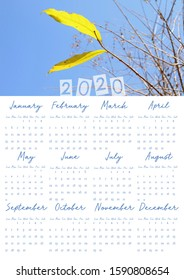 2020 Poster calendar with image.Vertical A3 format.Size: 16.5354 inch x 11.6929 inch(419.99916 mm x 296.99966 mm).English Version