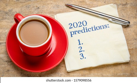 2020 predictions list - handwriting on a napkin with a cup of coffee, business and financial trends, expectations and speculations for  the New Year