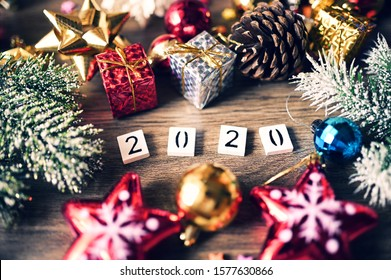2020 text Numbers with Concept Christmas and New Year 2020