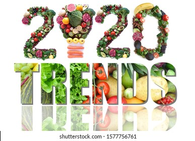 2020 trends made of fruits and vegetables including a light bulb icon