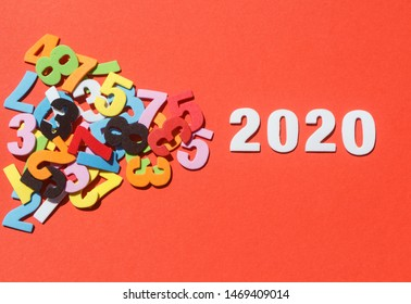 2020 in white figures and colored figures