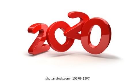 2020 white red symbol 3d rendering