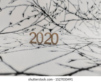 2020 year on black and white abstract background