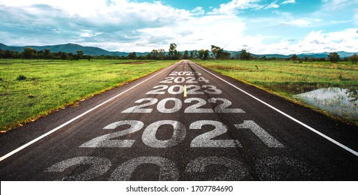 2020-2025 written on highway road in the middle of empty asphalt road  and beautiful blue sky. Concept for vision 2021-2025.