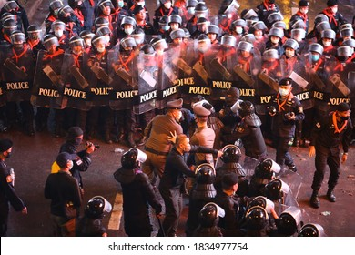 2020,October,16,Bangkok,Thailand, Thousands of democracy protesters seized Pathumwan Intersection.The police used crowd control and high-pressure water tanks force to seize back from protesters.
