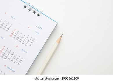 2021 calendar with pencil on white background business planning appointment meeting concept