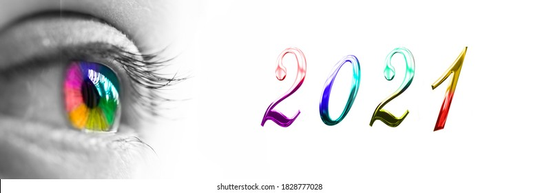 2021 and colorful rainbow eye on panoramic white background, 2021 new year greetings - Shutterstock ID 1828777028
