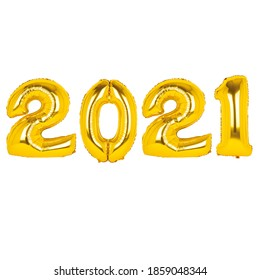 2021 gold foflyo balloon on white background