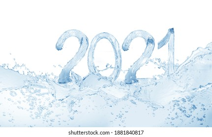 2021, Happy New Year 2021 water splash isolated on white background, water