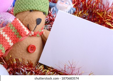 2021 New Year and Christmas with Teddy Bear And Gifts. New year and Christmas holiday invitation card.