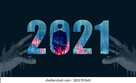 2021 new year of world finance concept. Rear view of business man double exposure with digital city and stock graph. Background with human hand.