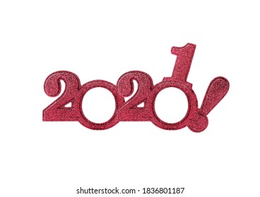 2021 numbers isolated. Two thousand twenty first New Year Holiday glasses in the form of figures two thousand twenty first on a white background. - Shutterstock ID 1836801187