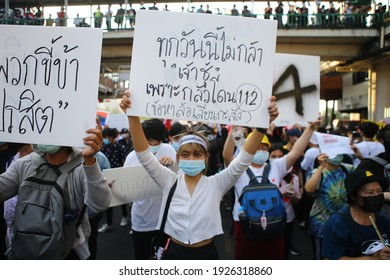 "2021,February,28,Bangkok,Thailand,the pro- democracy group, ""Freeyouth"", gathered at the Victory Monument and marched to the 1st Infantry Regiment Camp to oust the PM General Prayuth Chan-Ocha"