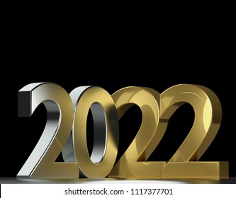 2022 metallic silver gold 3d-illustration
