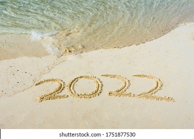 2022 in the sand with whitespace copyspace for editing