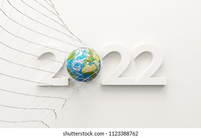 2022 soccer ball world map. globe 3d-illustration. elements of this image furnished by NASA