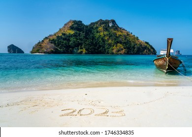 2023 in the sand with whitespace copyspace for editing in exotic location - Shutterstock ID 1746334835