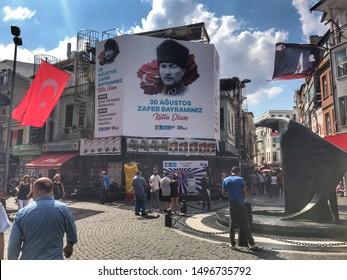 204/5000 Besiktas, Istanbul, Turkey - September 2019: Eagle statue in Besiktas. Besiktas JK match is the match of Besiktas football team icon and match point of fans. Atatürk photo in the square