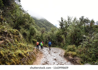 20-April-2018, Salkantay Mountain, Peru, South America. Trekkers in the Peruvian Andes on the Salkantay trek to Machu Picchu.