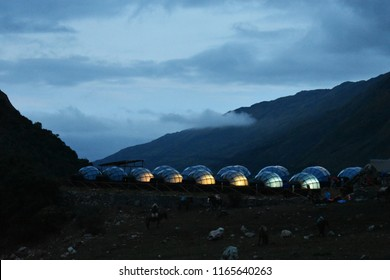 20-April-2018, Salkantay Mountain, Peru, South America. Sky Lodge  on Salkantay Trek to Machu Picchu. Picture taking at night.