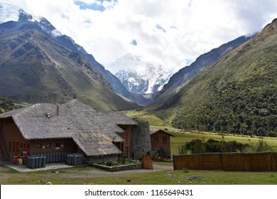 20-April-2018, Salkantay Mountain, Peru, South America.  Salkantay Lodge on the trekking route to Machu Picchu, Peru.