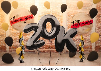 20k or 20,000 followers thank you with brilliant Balloons background. For your Celebration and Appreciation for social Network friends, Web user Thank you or celebrate of subscriber, follower, like