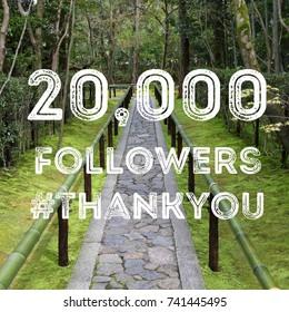 20k followers - company social media account thank you banner. 20,000 fans.