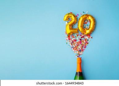 20th anniversary champagne bottle balloon pop