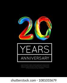 20th Anniversary, congratulation for company or person on black background