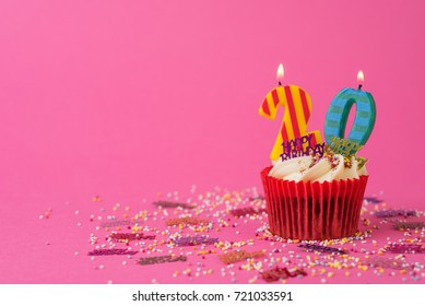 20th Birthday cupcake pink background