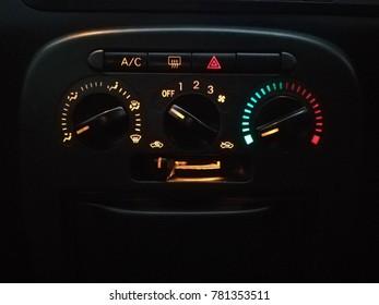 20th Dec 2017, Kuching Sarawak, Aircond panel at dashboard form Daihatsu Avy. Daihatsu Avy is among the popular compact car in asia.