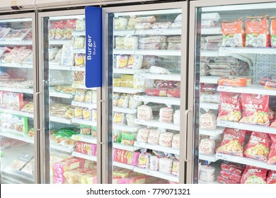 20th Dec 2017,Kuala Lumpur Malaysia.Various frozen foods in the refrigerator at the store.
