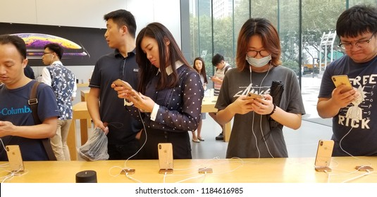 NanJing,JiangSu/China-September 21 2018:Apple's direct store in Nanjing, customers are experiencing the new iPhone is and iphone xs