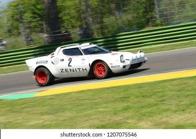 21 April 2018: Erik Comas drive Lancia Stratos HF V6 during Motor Legend Festival 2018 at Imola Circuit in Italy.
