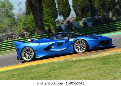 21 April 2018: Ferrari FXX-K in action during practice session at Motor Legend Festival 2018 at Imola Circuit in Italy.