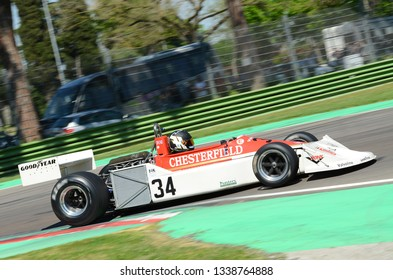 21 April 2018: Fletcher Henry GB run with historic 1976 F1 car March 761 during Motor Legend Festival 2018 at Imola Circuit in Italy.