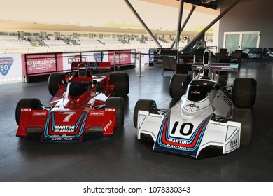 21 April 2018: Historic F1 Cars Brabham BT44 and BT45 sponsorized by Martini Racing exposed at Motor Legend Festival 2018 at Imola Circuit in Italy.