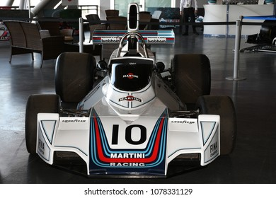 21 April 2018: Historic F1 car Brabham BT44 exposed at Motor Legend Festival 2018 at Imola Circuit in Italy.