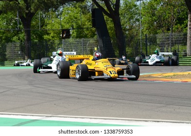 21 April 2018: O'Connell, Martin GB run with historic 1980 F1 car ATS D4 during Motor Legend Festival 2018 at Imola Circuit in Italy.