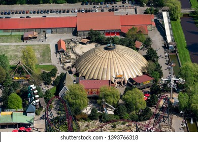 21 April 2018, Slagharen, Holland. Aerial view of amusement park Slagharen with a roller coaster, wild west show and a aqua water park.