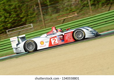 21 April 2018: unknown driver on Audi R8 LMP Winner of 24 hours le mans during Imola Motor Legend Festival 2018 on Imola Circuit in Italy.